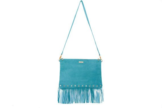 Turquoise suede crossbody fringe bag turquoise bag by MONAObags