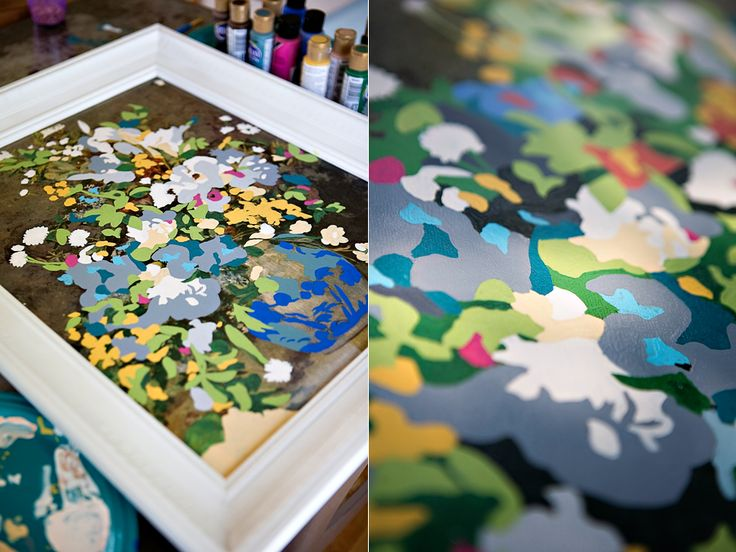 A thrift store painting becomes a clever DIY paint-by-number piece. Love this!