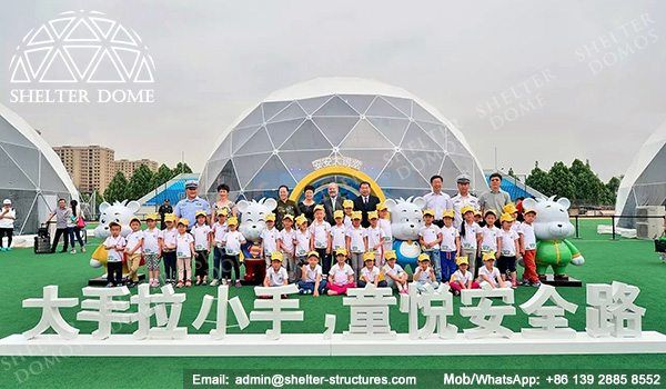 Steel dome buildings for events - Fabric dome structures for sale - Learning domes for BMW summer camp - Geodesic dome school - Presentation dome tents - Sphere dome tent - Shelter Dome (2)