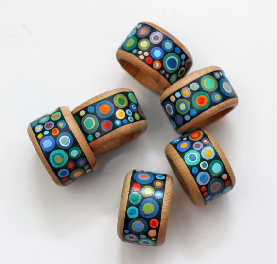 Hand painted wooden napkins rings set of 6 colourful by Essenziale, $22.00