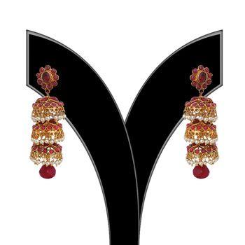 Maroon Polki Studded Earring