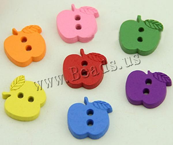 Wood Button, Apple, brushwork, 2-hole, mixed colors