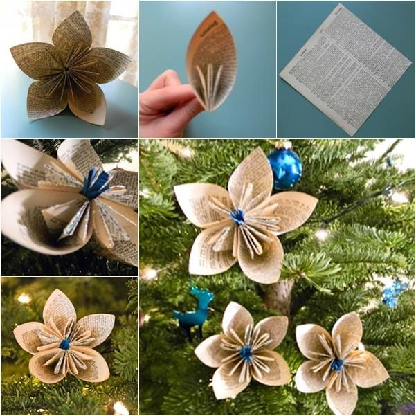 Vintage Paper Flower Ornaments I would use old phone books.