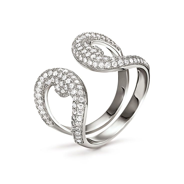 85€ Fashionably Silver Temptation Rhodium Plated Stone Ring