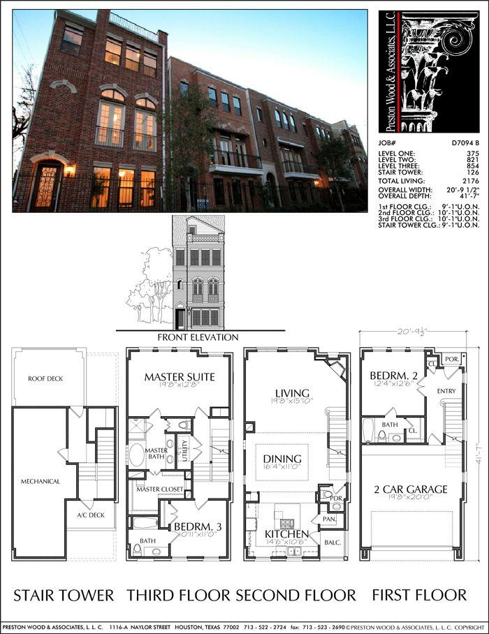 Townhouse Plan D7094 B Jack Prestonwood Pinterest