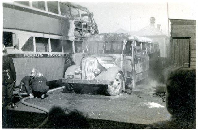 Fogg's Motors double decker bus fire c. 1950s | This image c… | Flickr