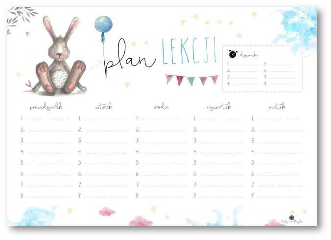 Plan lekcji z królikiem