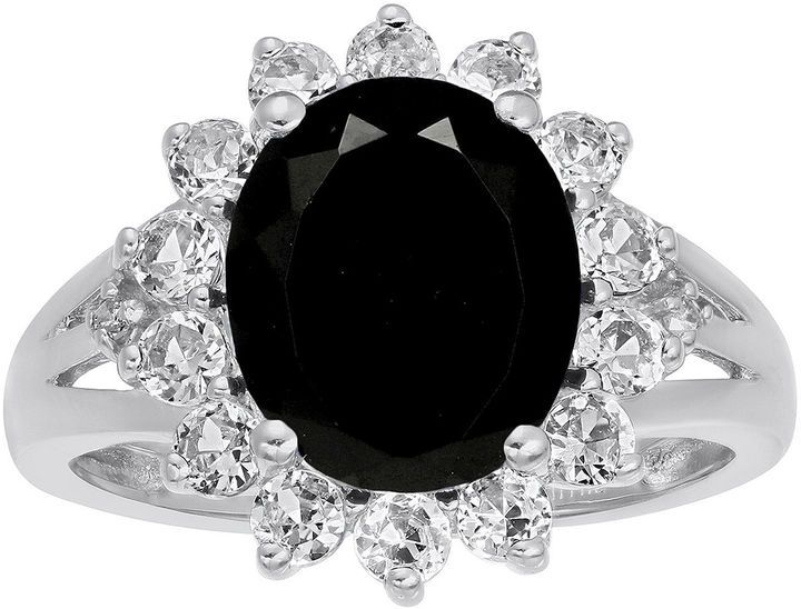 fine jewelry oval genuine black onyx and labcreated white sapphire ring