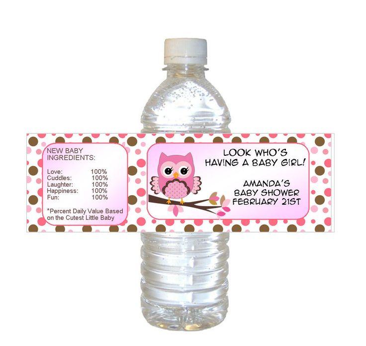Personalized Pink OWL Baby Shower Waterproof Water Bottle