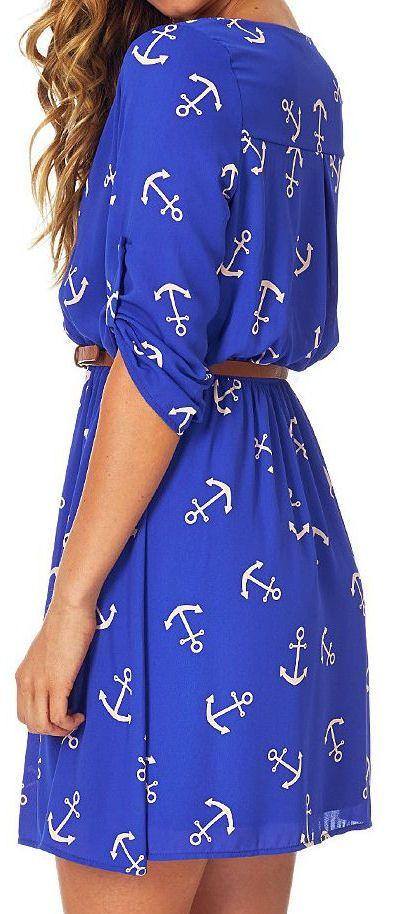 Pinkblush Blue & Cream Anchor Belted Roll-Tab Sleeve Dress