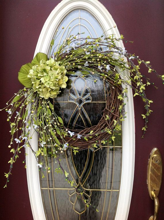 Spring Wreath Summer Wreath Grapevine Door Wreath Decor.. Sassy Hydrangea  & 79 best wreaths and door swags images on Pinterest | Spring ... pezcame.com