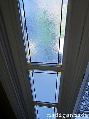 """""""Faux"""" non-permanent stained glass. Perfect solution for that skinny window my duplex neighbors are always looking at me through..."""