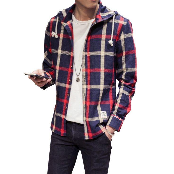 Homens Boy camisas manga comprida de algodão Plus Size xadrez com capuz blusa de linho M-5 XL(China (Mainland))