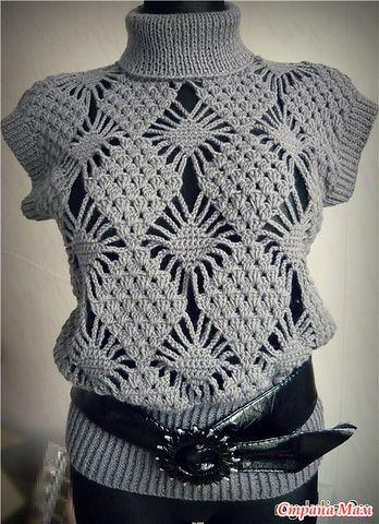 """Давно мечтала связать такой пуловер, может кто то ко мне присоединится. Пряжу взяла VITA """"Сапфир""""-45 шерсть,55 акрил, крючок №3,5. Вязать буду по последней схеме"""