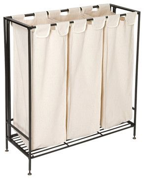 The Container Store > 3-Section Iron Folding Hamper contemporary hampers
