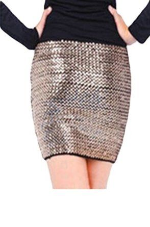 Halife Women's Stretch Sequin Tube Top or Skirt Club Party Cocktail Glitter Skirt