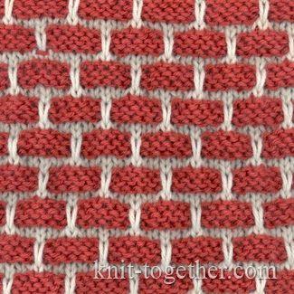 Two-Color Bricks Pattern, knitting pattern chart, color knitting stitch pattern
