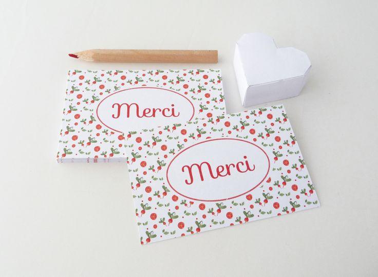 Lot de 18 cartes de remerciement illustrées de radis et de tomates : Cartes par papierpapier