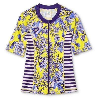 Women's Floral Short Sleeve Zip-Up Rashguard - Yellow - XS - Sea Angel