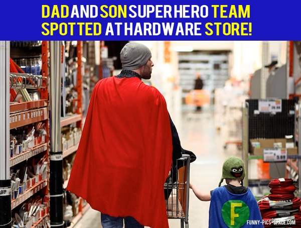 DAD AND SON Super Hero team...should totally make J and the boys matching capes for their superhero wrestling and antics!