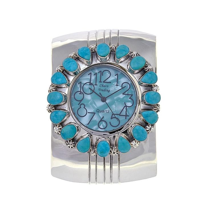 Chaco Canyon Southwest Jewelry Chaco Canyon Kingman Turquoise Sterling Silver Cuff Watch
