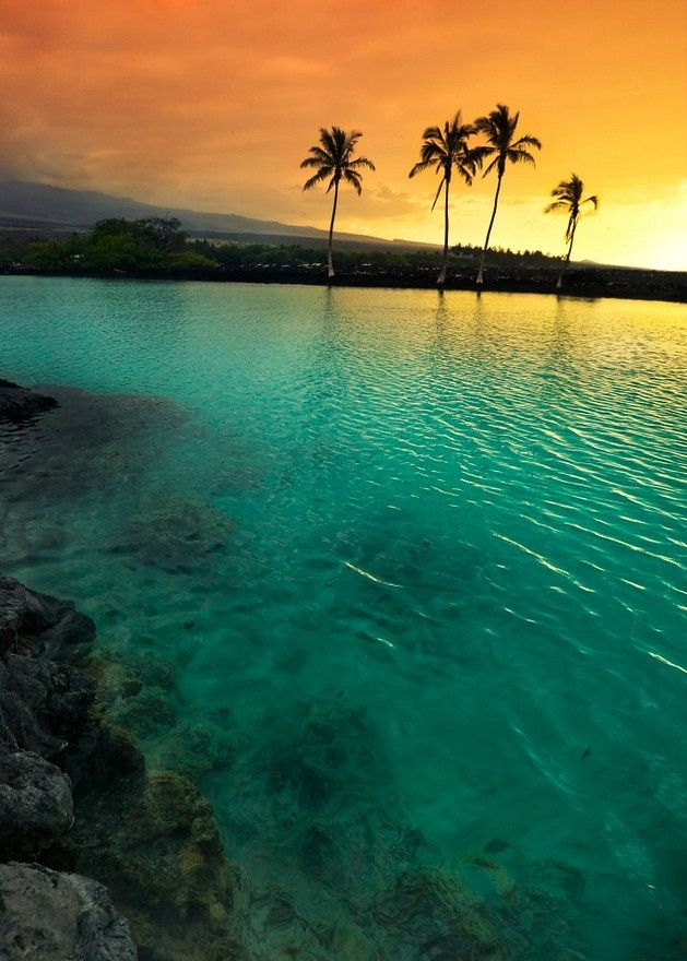 Sunset at Kiholo Bay on the Kohala Coast of the Big Island of Hawai - Double click on the photo to get or sell a travel itinerary to #Hawaii