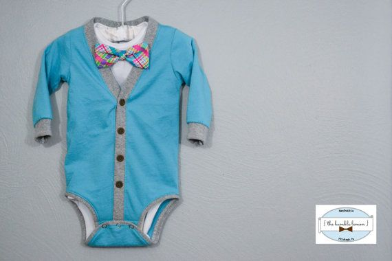 Easter Pastel Infant Baby Cardigan and Bow Tie: by TheHumbleLemon