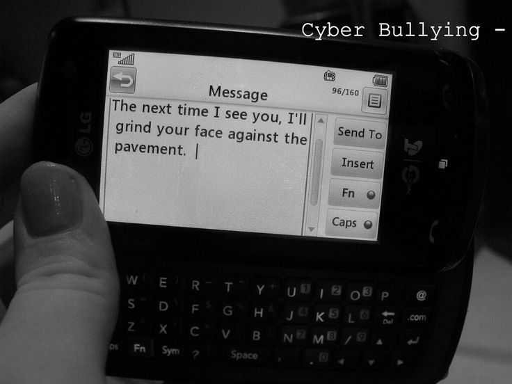 This picture shows how the victim is being bullied through text ...