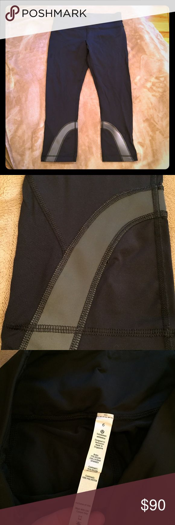Lululemon reflective run inspire crop never worn 6 Never worn (sorry for the crotch shot but showing no pilling) has tag  cool-to-the-touch Luxtreme® is sweat-wicking and four-way stretch added LYCRA® fibre for great shape retention stash fuel and essentials in the secure back zipper pocket and two waistband pouches Mesh side leg pockets for all of your extras hidden reflectivity helps you stay visible when you're out before (or after) the sun cinch the continuous drawcord for a custom fit…