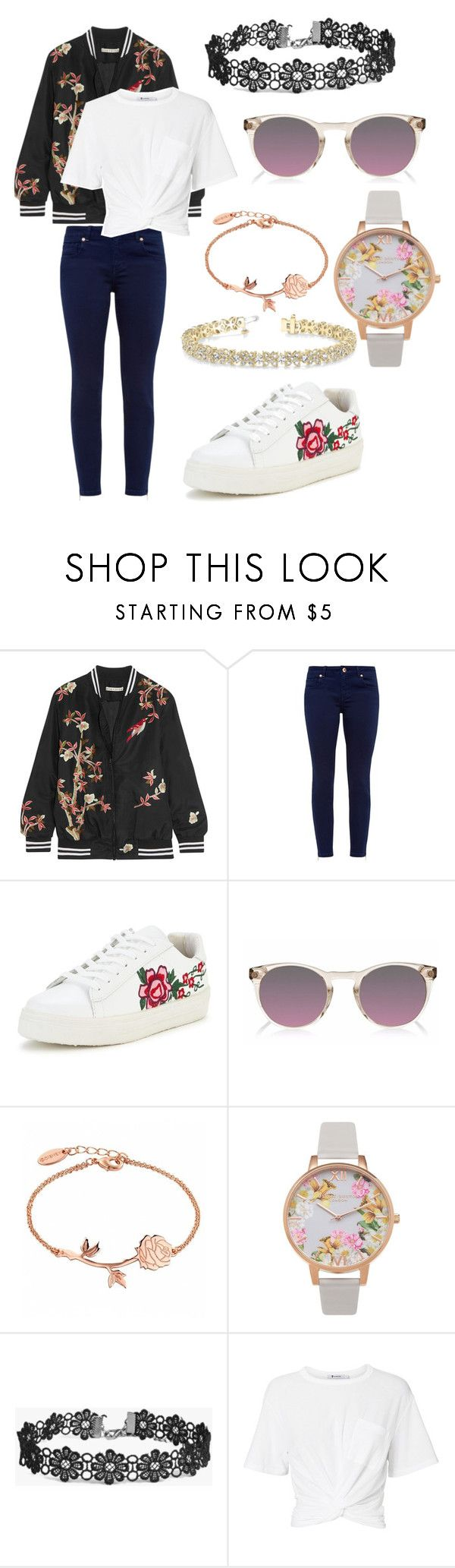 """""""Floral"""" by madzalf ❤ liked on Polyvore featuring Alice + Olivia, Ted Baker, Finlay & Co., Olivia Burton, Boohoo, T By Alexander Wang and Allurez"""