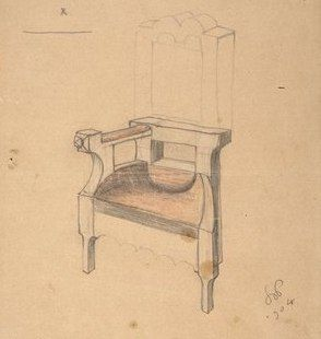 Projekt krzesła dla Zofii i Tadeusza Żeleńskich. Co się tyczy mebli, Wyspiański też miał swoje odrębne pojęcia. Pojedynczy mebel nie był dla niego rzeczą samą w sobie, ale składową cząstką architektonicznej niejako kompozycji, którą był cały pokój. Miejsce i ustawienie każdego mebla były ściśle oznaczone. W kompozycji każdego mebla punkt wyjścia miał czysto geometryczny. Brał za zasadę linię pewnej długości, a każdy wymiar mebla był pewnym zwielokrotnieniem tej linii.