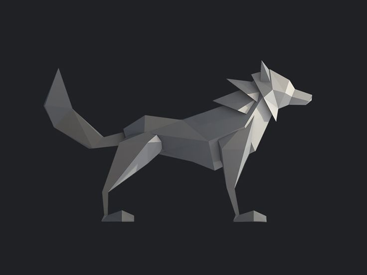 A 3D Low Poly model of a wolf.