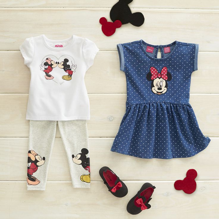 "Check out the Disney Baby fall collection at Babies""R""Us on sale now! The Minnie Mouse polka dot denim dress has an adorable winking Minnie Mouse applique. A flirty skirt flows out from a high-low seam at the waist on this stylish dress. The top and leggings feature a graphic of Minnie Mouse and Mickey Mouse exchanging a sweet kiss. These fun styles are exclusive to Babies""R""Us."