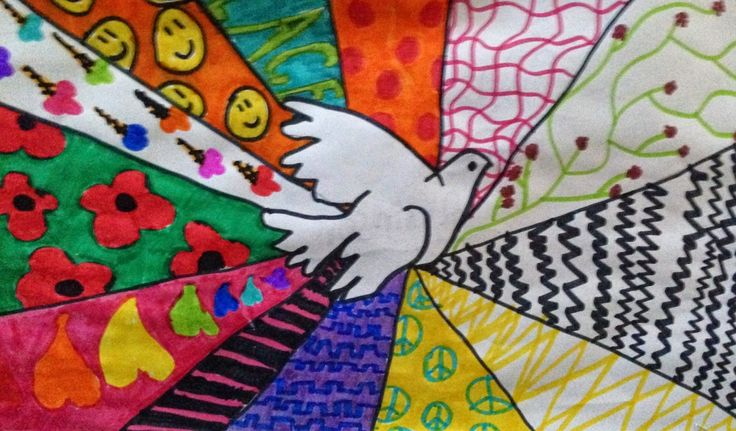 Peace Doves.  Draw a peace dove in the middle, then images/symbols/colours that bring them peace around the outside.