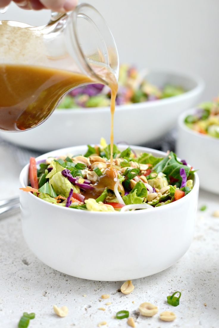 Crunchy Asian Veggie Salad with Honey Ginger Peanut Dressing. SERIOUSLY SO GOOD. Add farkay noodles and crispy tofu