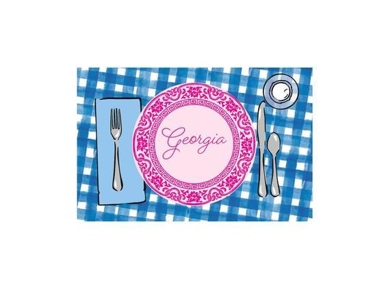 Personalized Placemat Gingham Placemat Kids Personalized Etsy Personalized Gifts For Kids Placemats Kids Personalised Placemats