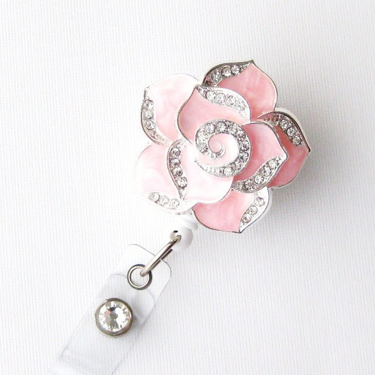 My favorite badge reel that I bought to add some bling to my scrubs :)    Pink Petal Bling - Pretty Badge Holder - Unique Badge Reels - Stylish ID Badge Clip - Nurse Jewelry - Teacher Gift - RN Badges - BadgeBlooms