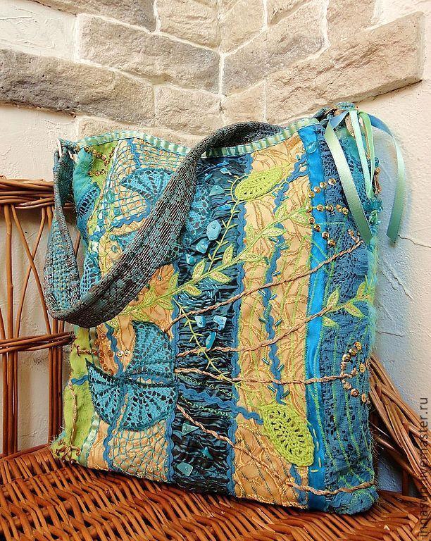 Купить Сумка летняя Бирюза и золото - тёмно-бирюзовый, цветочный, сумка женская, арт-текстиль