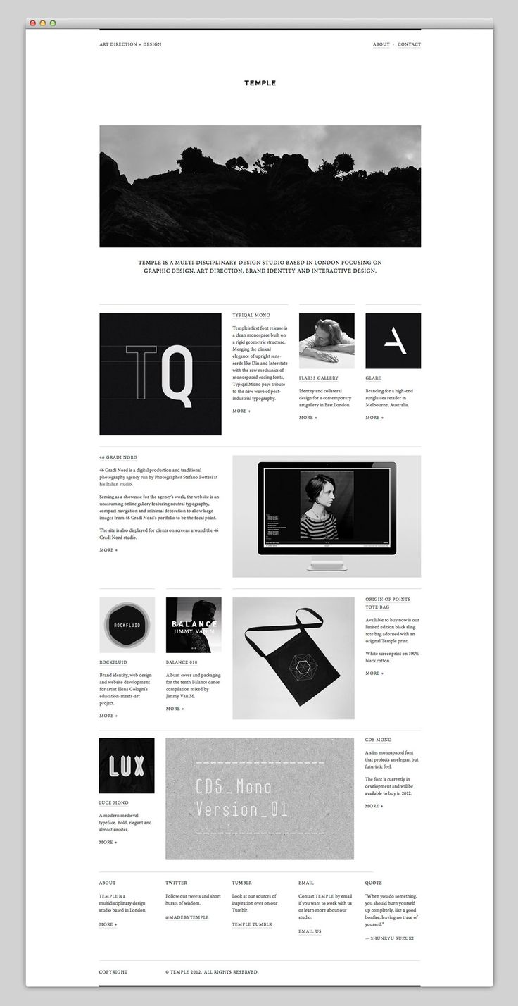 Temple / Minimal mono website