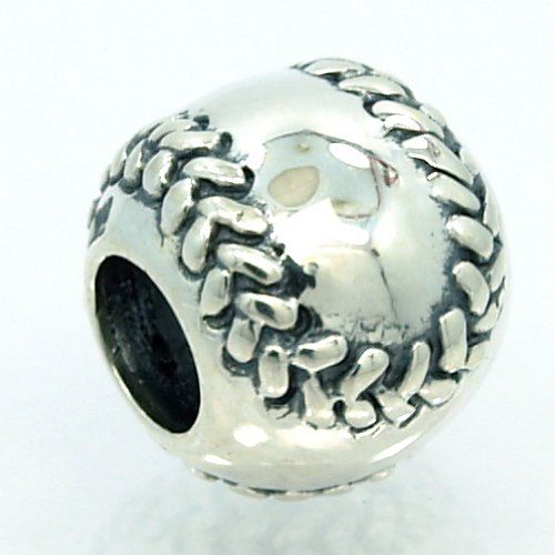 ".925 Sterling Silver "" Baseball or Softball "" Bead Compatible with Pandora"