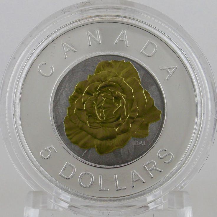 Canada 2014 $5 Rose Flowers Canada Series Bi-Metallic Silver Niobium Proof Coin