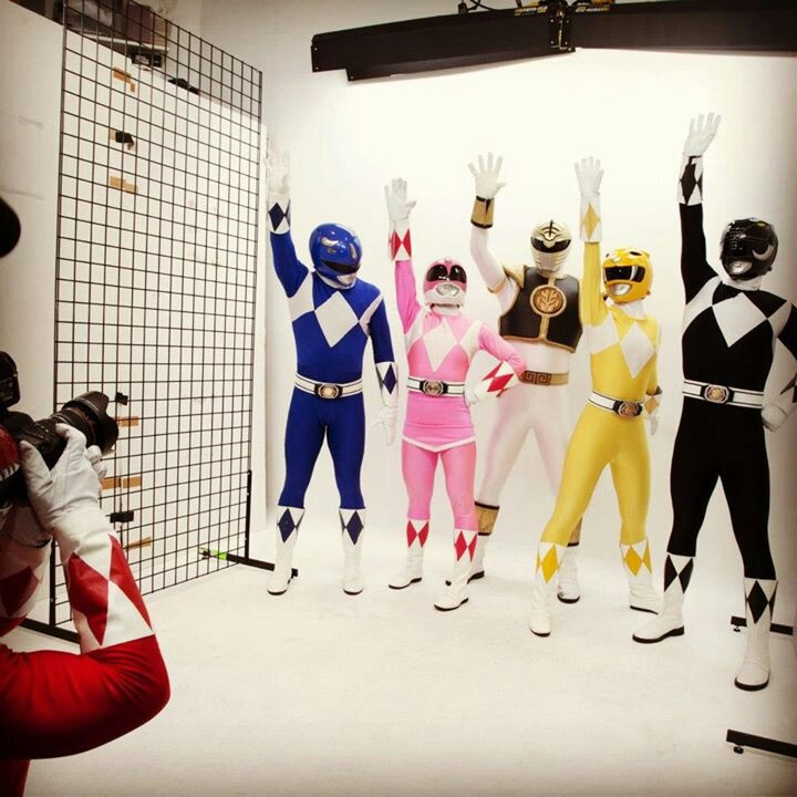 Power Rangers photo shoot. Red's taking the picture. lol