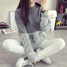 2016 весной зима пуловеры женщин свитер поворот свободно трикотажные завышение толщиной кашемир с длинным рукавом короткий наряд корейский топы(China (Mainland))