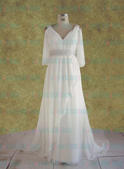 Loc062 vintage plus size flowy flapper style wedding dress for Flowy wedding dress with sleeves