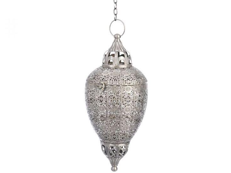 Laterne Hängend Orientalisch Marokko Metall Grau 47cm