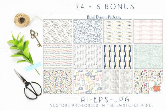 Hand Drawn Seamless Patterns Papers by Studio Julie Ann on @creativemarket