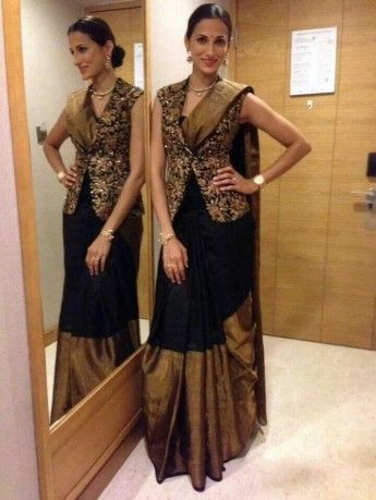 Wedding Cocktail Gowns - Black and Gold Sari with Gold Brocade Sleeveless Jacket | WedMeGood #wedmegood #black #gold