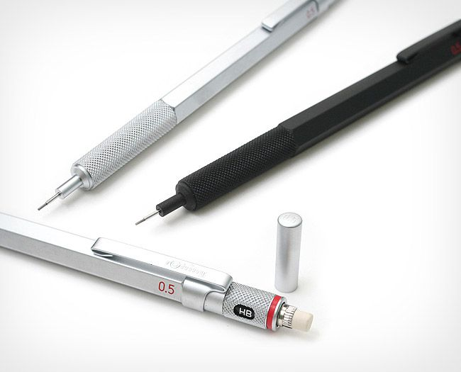 Rotring 600 Mechanical Pencil http://www.jetpens.com/Rotring-600-Drafting-Pencil-0.5-mm-Silver-Body/pd/6436