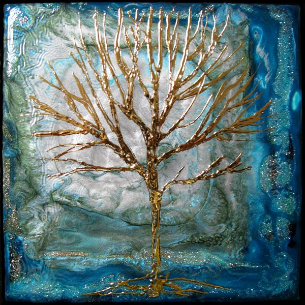 """""""Tree of Life"""" This little painting was done on a tile purchased at a building center. I poured on fantasy moon, vitrail and prisme. After it dried I drew out a tree using Mixtion relief and rubbed on gold mirror effect leaf. One of my favorite Pebeo mediums."""