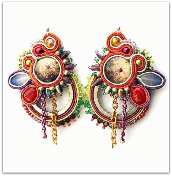 Colorful+Meadow+Soutache+Earrings+silver+by+ArtGalleryButterfly